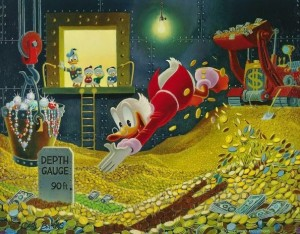 """Scrooge McDuck"" and his famous pile of money"