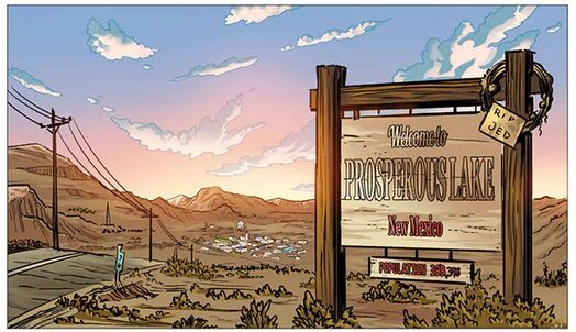 """Illustration of sign reading """"Welcome to Prosperous Lake, New Mexico"""" from Night of the Vegan"""