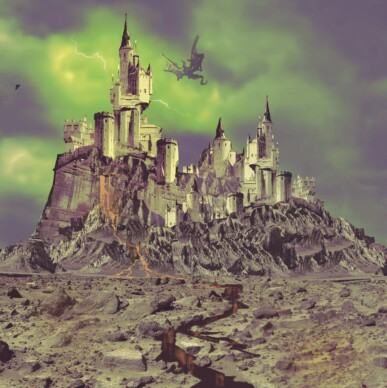 A castle in a wasteland with a dragon flying overhead